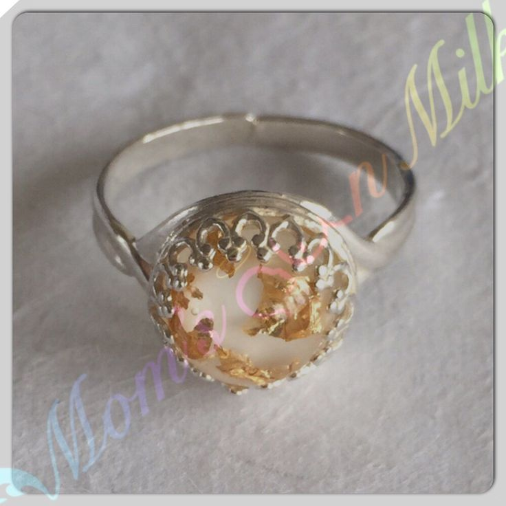 Breastmilk Ring With Gold Leaf