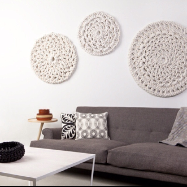 Crochet wall hanging; in teal, yellow and white for bedroom?? I like!