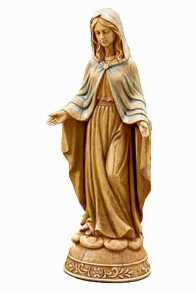 "Blessed Virgin Mary Our Lady of Grace Statue  Beautiful Madonna figurine to add peace and inspiration to your indoor or outdoor space.  Mother Mary's tranquil presence will bless your home or garden with beauty and serenity. Makes a perfect gift for a Catholic or Christian. The holy statue is hand-painted to have a weathered, hand-carved wood appearance. Her hooded cape has soft hints of blue. She is made of cold cast ceramic and stands 15.75"" tall x 6.63"" x 5""."
