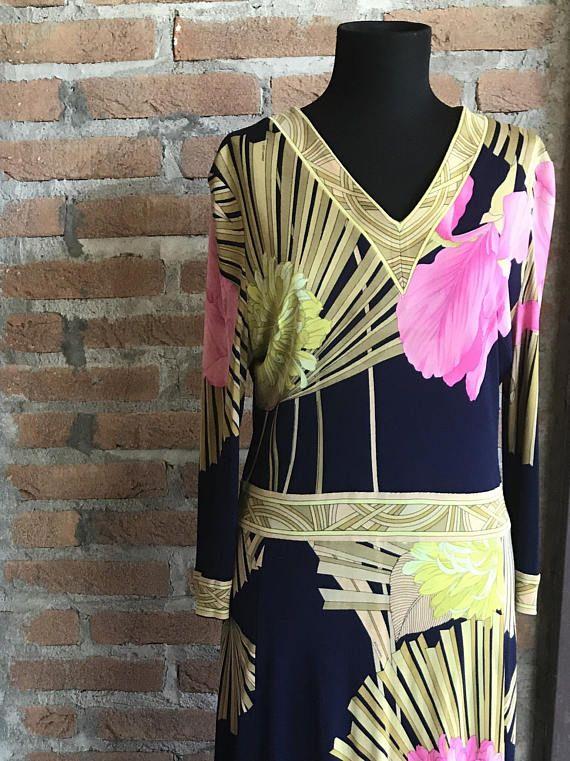 1960 or early 70's Leonard frolar print dress peonies