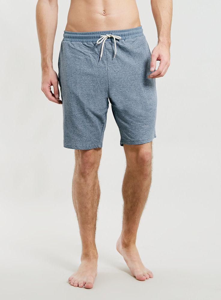 Short en jersey rayé en fil teint - Pyjamas et Tenues d'Intérieur Homme - Vêtements - TOPMAN FRANCE