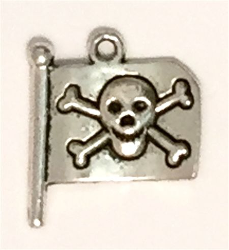 4 x Silver metal Pirate Flags