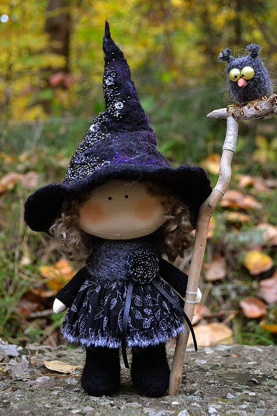 Little Witch Thea-Kitchen Witch-Handmade Doll-Textile Doll-Fabric Doll-Rag Doll-Home Deco-Halloween Decoration-Halloween Gift-Christmas gift