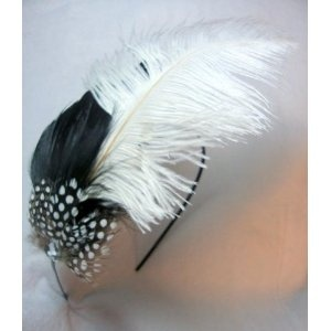 NEW Large Black and White Ostrich Feather Fascinator Headband $12.99