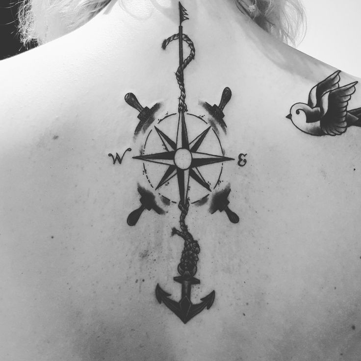 tattoo maritim anker kompass schwalbe r ckentattoo tattoofrauen back blackgrey. Black Bedroom Furniture Sets. Home Design Ideas