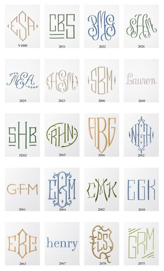 Monograms for bedding maybe a wedding gift OR on a wedding handkerchief.