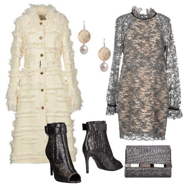 trendy con il vestito in pizzo, cappotto multicolore con