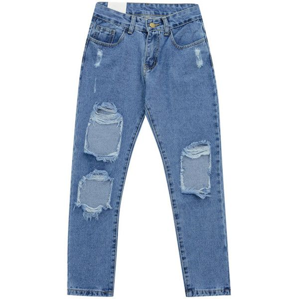 Chicnova Fashion Ripped Denim Capris ($18) ❤ liked on Polyvore featuring pants, capris, jeans, bottoms, clothing - trousers, blue capri, denim capri pants, denim pants, denim trousers and capri pants