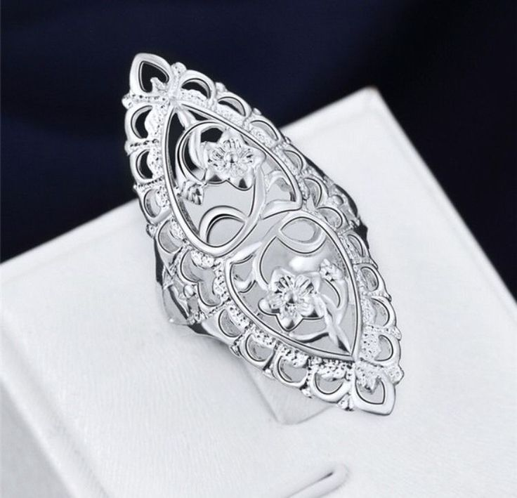 Cute 925 Sterling Silver Filled Hollow Big Ring Ladies Finger Jewelry Gift  | eBay
