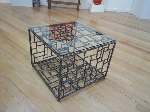 Coffee table made from re-bar - inspired by Picasso.