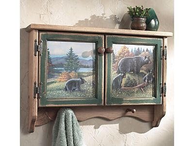 Black Bear Lodge Wall Cabinet   A Black Forest Decor Exclusive   This  Wooden Black Bear Lodge Wall Cabinet Has A Weatherworn Style And Is Graced  With A ...