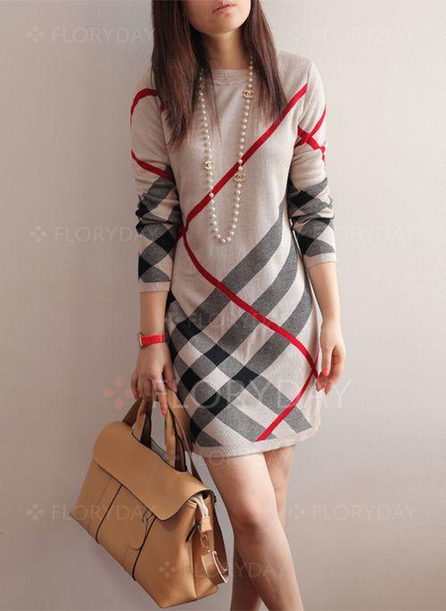 Dresses - $53.85 - Cotton Blends Tartan Long Sleeve Above Knee Casual Dresses (1955111500)