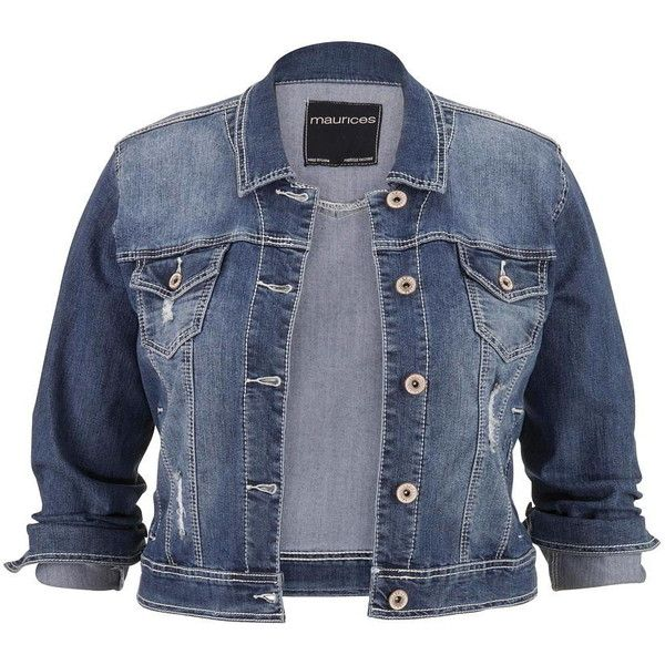 maurices Plus Size - Medium Wash Denim Jacket ($49) ❤ liked on Polyvore featuring outerwear, jackets, coats & jackets, plus size, medium dark wash, denim jacket, cropped jean jacket, blue denim jacket, cotton jacket and maurices