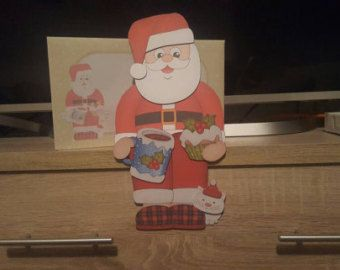 Santa christmas card, tartan slippers, cat, merry christmas, on the shelf card and envelope