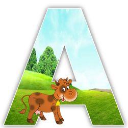 Alfabeto de vaca en el campo.