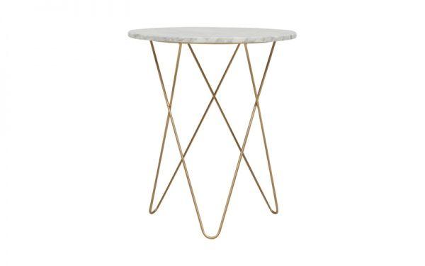 BROOKLYN SIDE TABLE WHITE MARBLE/GOLD | OZ Design Furniture & Homewares