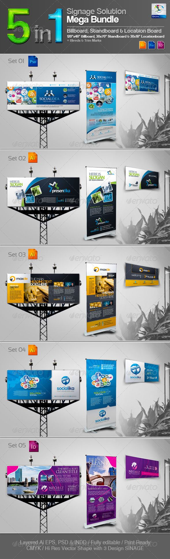 5 in 1 Signage Solution Mega Bundle — Photoshop PSD #outdoor banner #location ...