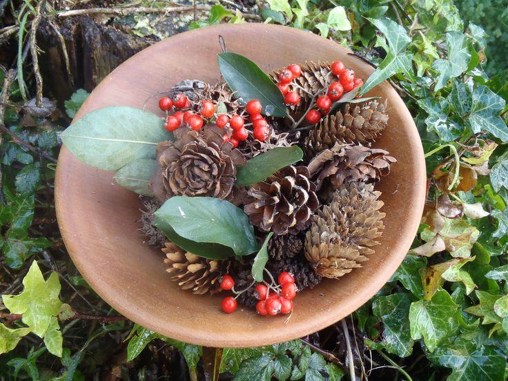 Make a pretty woodland display using all natural materials.