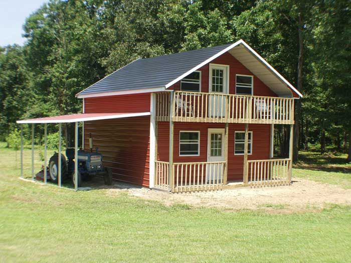 Metal building with porch pavilion pinterest for Metal building cabin