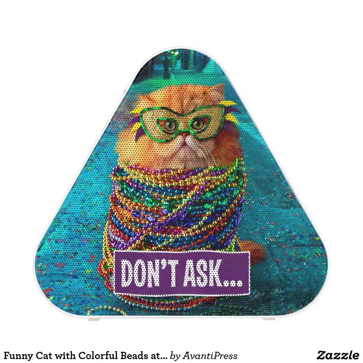 Funny Cat with Colorful Beads at Mardi Gras Speaker. Música, music. Producto disponible en tienda Zazzle. Tecnología. Product available in Zazzle store. Technology. Regalos, Gifts. #bocinas #altavoces #speaker