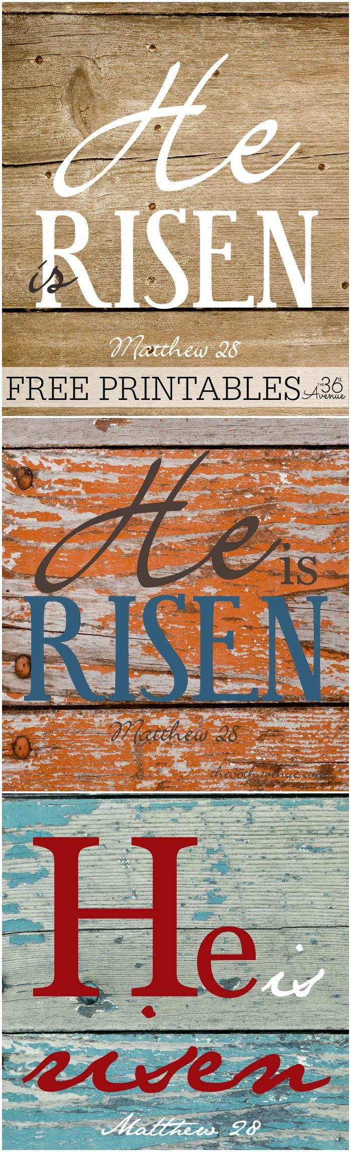 Free Printables - Visit the36thavenue.com for these He Is Risen printables. Perfect to decorate for Easter! Pin it NOW and print the later!