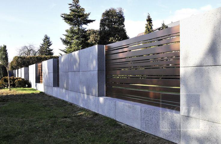 nowoczesne ogrodzenie beton architektoniczny cubero horizon wood xcel kraków