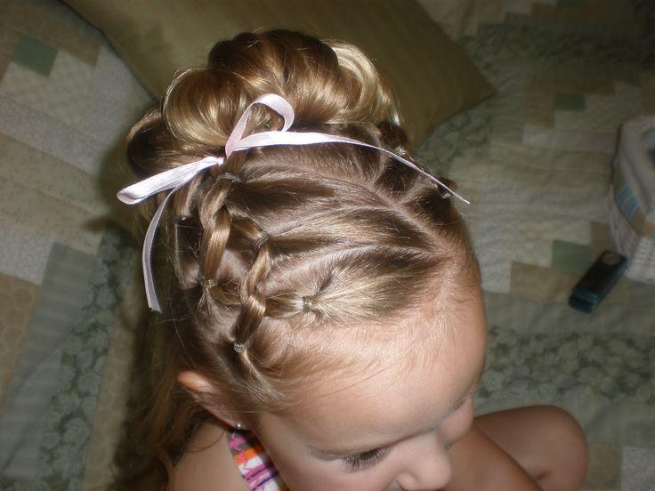 Lil girl hair up do. Trinitys hair for Niccs wedding
