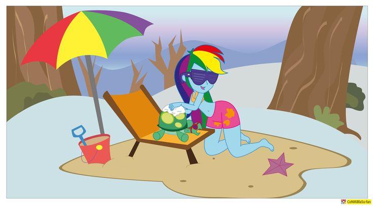 889658 Artist Conikiblasu Fan Beach Umbrella Belly