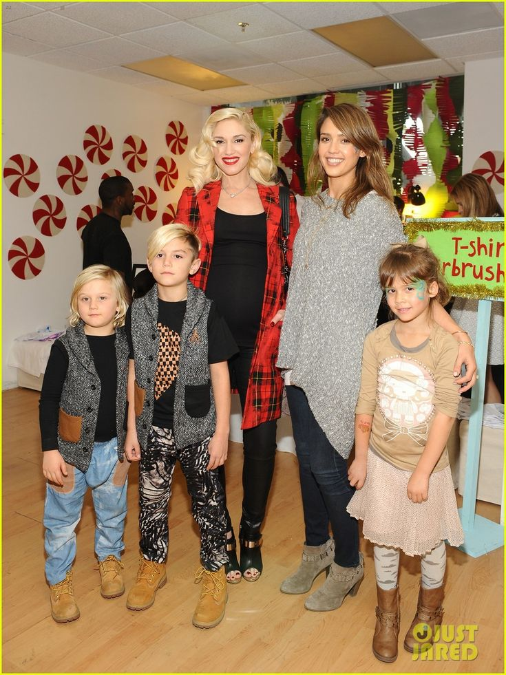 Jessica Alba & Gwen Stefani attend the 2013 Baby2Baby Holiday Party presented by The Honest Company on Saturday afternoon (December 14) in Los Angeles. The ladies were joined for a photo by Jess' daughter Honor and Gwen's sons Kingston and Zuma. Also at the party were Jessica's husband Cash Warren and their younger daughter Haven.