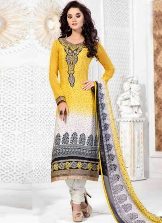 Yellow White Embroidery Work Printed French Crepe Designer Churidar Suit http://www.angelnx.com/Salwar-Kameez/Churidar-Suits