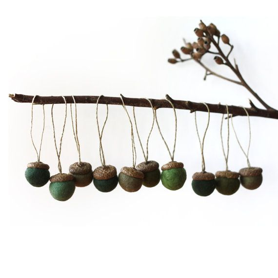 Felted Acorns Ornaments   set of 10 in pine greens by delica, $24.00
