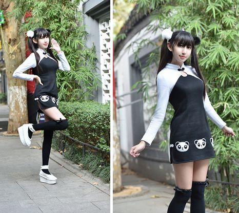 Fashion kawaii panda printing cheongsam