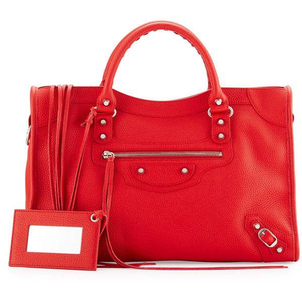 Balenciaga Classic City Calfskin Shoulder Bag ($1,985) ❤ liked on Polyvore featuring bags, handbags, shoulder bags, red, red handbags, zipper purse, zip purse, top handle purse and zipper handbag