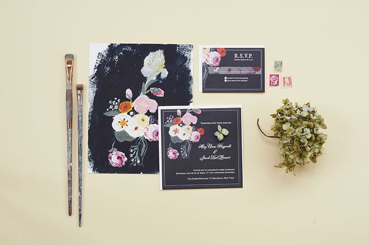 Black Charcoal watercolor. Dutch Floral Suite: Inspired by mid-century Dutch Baroque art. Katie Fisher Design