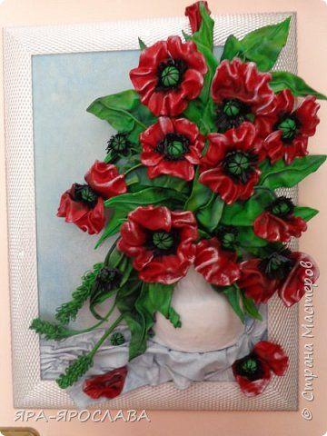 Картина панно рисунок Аппликация Объемная картина из кожи Маки Кожа фото 4
