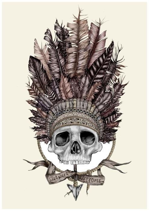 Indian skull face crane indien de face id e tatouage pinterest indien cr nes et cr ne - Tatouage crane indien ...