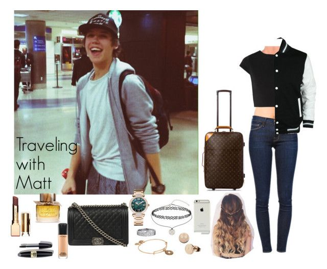 """Traveling with Matt"" by sr-magcult-bieber-gomez ❤ liked on Polyvore featuring Forever 21, Frame Denim, Alice + Olivia, Chanel, Miss Selfridge, Chopard, Clarins, Alex and Ani, Max Factor and MAC Cosmetics"