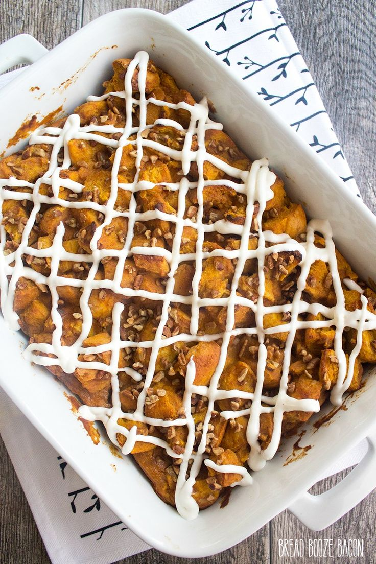This Pumpkin Bread Pudding Recipe is fall comfort food at its finest! I like mine drizzled with cream cheese glaze!