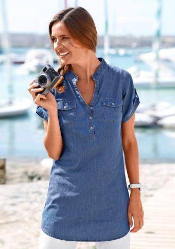 Džínová košile s krátkými rukávy #ModinoCZ #jeans #blue #trendy #style #fashion #moda #moda #denim #kosile #shirt