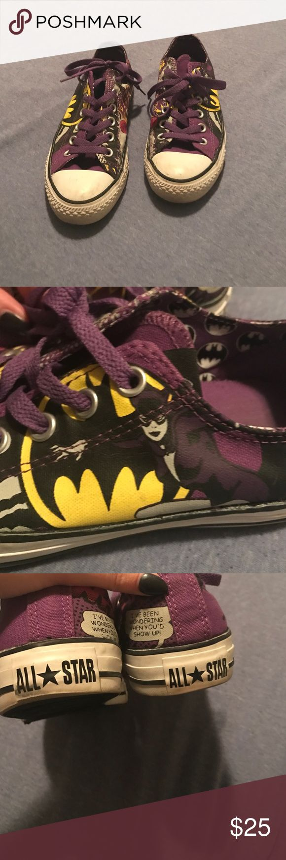 Size 8 batman converse! 💜💜💜💜 Converse Shoes Sneakers