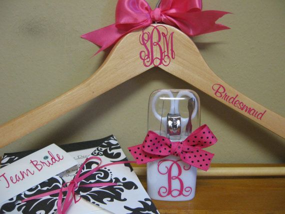Personalized Wedding Hanger Manicure Set and Shoe by VinyleYours, $18.50