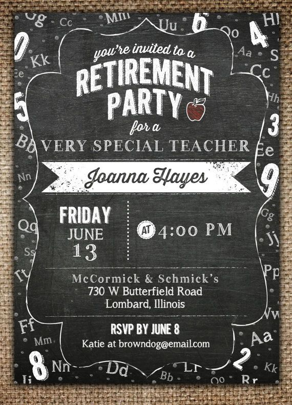 Hey, I found this really awesome Etsy listing at https://www.etsy.com/listing/189166097/retirement-party-invitation-teacher