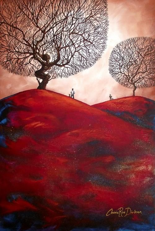 Autumn Landscape tree abstract ORIGINAL PAINTING by Cherie Roe Dirksen