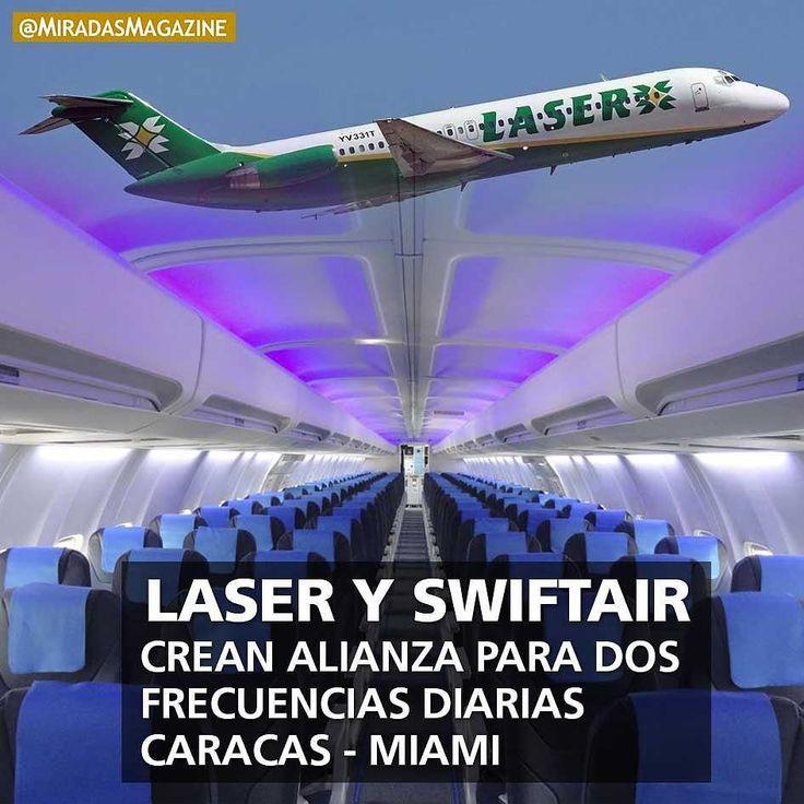 Alianzas\  Laser Airlines conjuntamente con su nuevo socio comercial Swift Air ampliará su oferta a la ciudad de Miami con una segunda frecuencia a partir del próximo 15 de octubre. . El nuevo itinerario de salida ofrecerá dos vuelos diarios con horarios de salida de Caracas a las 2:00 pm y 6:30 pm mientras que desde Miami a Caracas las salidas serán a las 8:30 am y 1:15 pm. La ruta será cubierta en aeronaves modelo Boeing 737-400 con capacidad para 12 pasajeros en clase ejecutiva y 138…