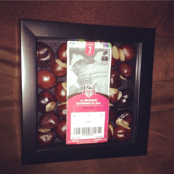 OSU ticket shadow box w. Buckeyes for Brian