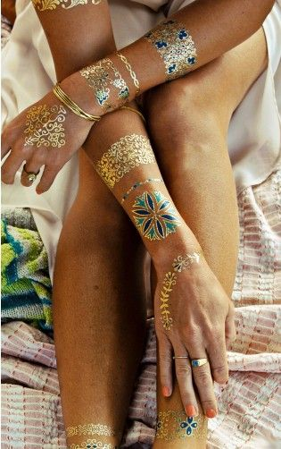 Isabella Flash Tattoos Gold And Navy➕More Pins Like This At FOSTERGINGER @ Pinterest✖️