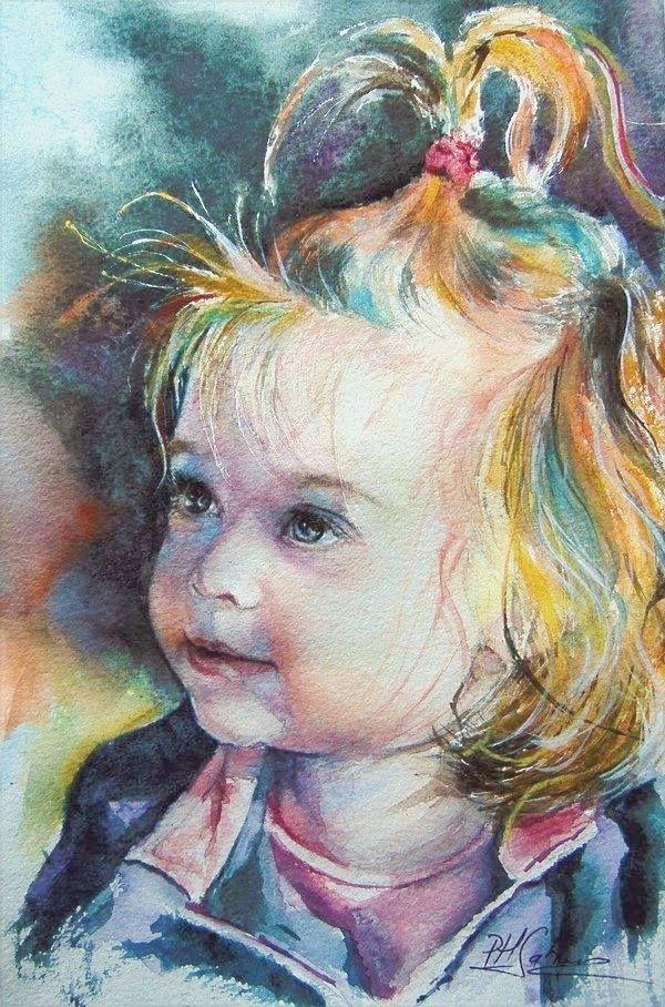 Little sweet Romanian girl, watercolor 20x30