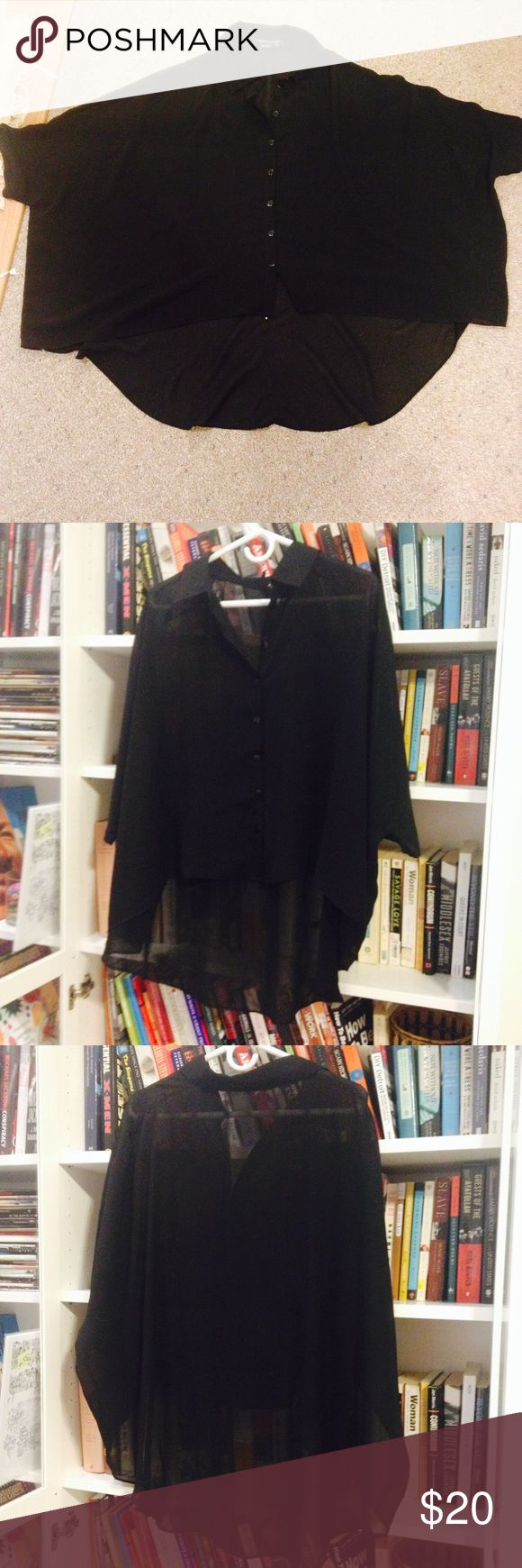 BCBG oversized top BCBG oversized top! It's sheer, has a collar and button down, and is high low (lower in back). Super oversized. Great condition. Remember, you can save 20% on this shirt if you bundle! BCBGMaxAzria Tops Blouses