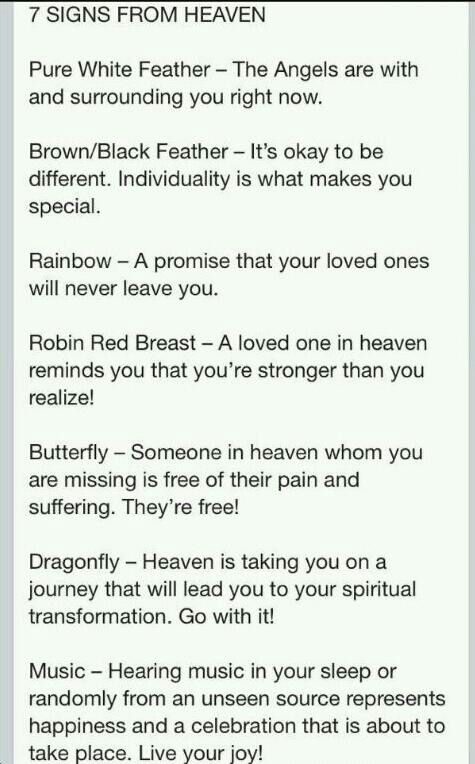 Now I know..7 signs from heaven..