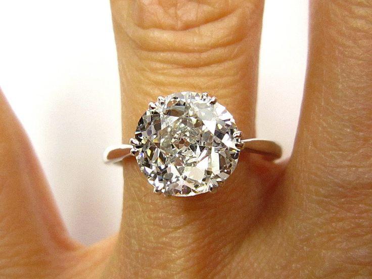 2.27ct Antique Vintage OLD EUROPEAN ROUND Cut Diamond Engagement Ring in Platinum